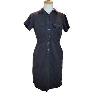 J. CREW Shirt Dress Mini Button Down Sz 4 Black